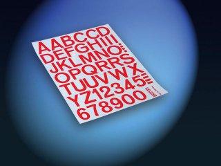 Aufkleber Zahlen / Buchstaben 25mm (rot)