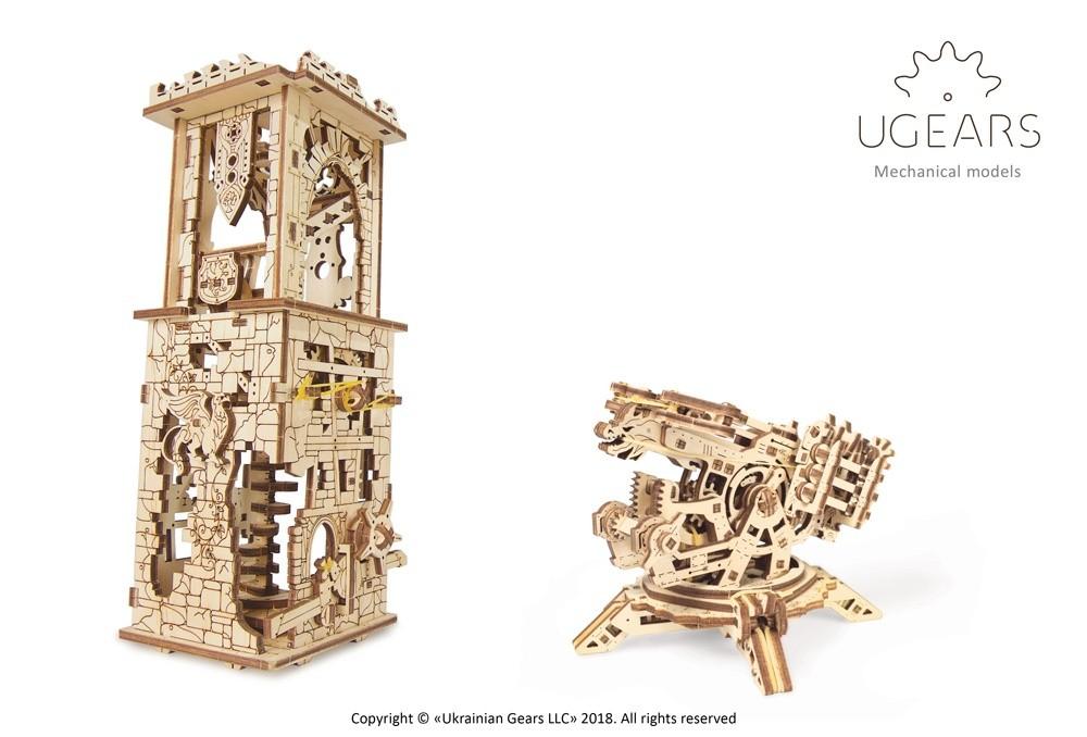 Ugears Balliste mit Schützenturm – mechanische Modell